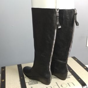 Nine West Hidden wedge leather black zip boot 5